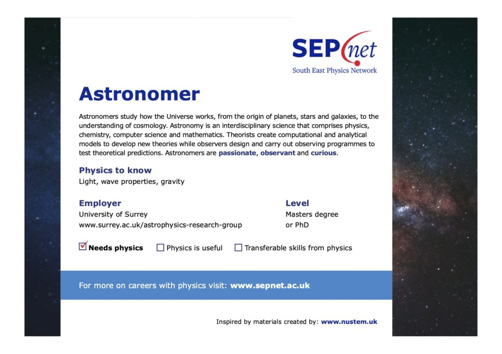 Careers with Physics - Astronomer