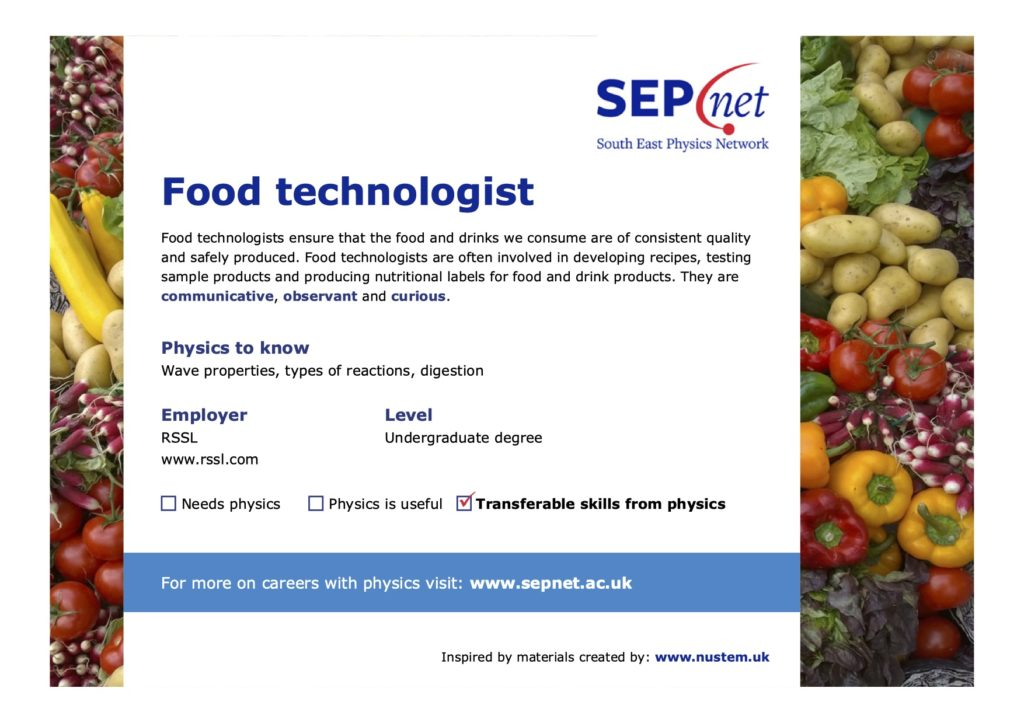 Careers with Physics - Food technologist